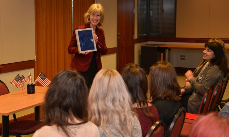Chargé d' Affaires Margaret Nardi welcomed a group of students from Ogulin to the Embassy {State Dept.]