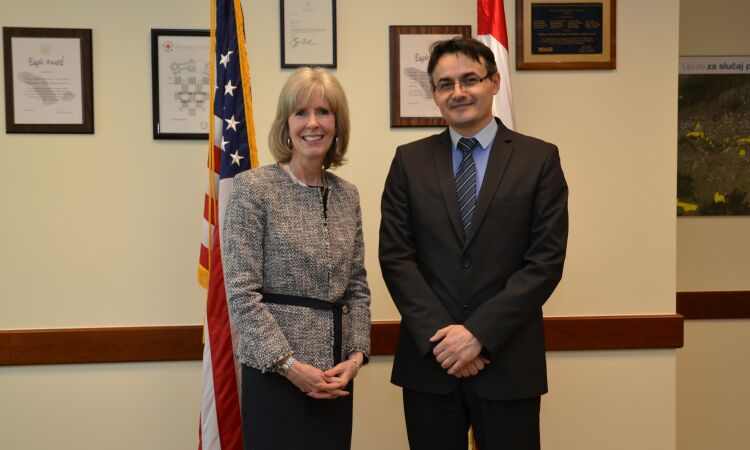Chargé d'affaires Margaret Nardi meets with Jurislav Babic of the Faculty of Agriculture in Osijek [State Dept.]