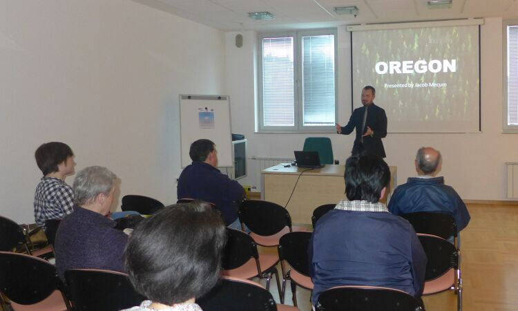 Jacob Mecum, Economic Officer, presented the state of Oregon to the audiences at the American Corner Zagreb [State Dept.]