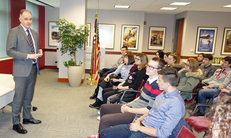 Students from Sisak Visit the Embassy (State Dept.)